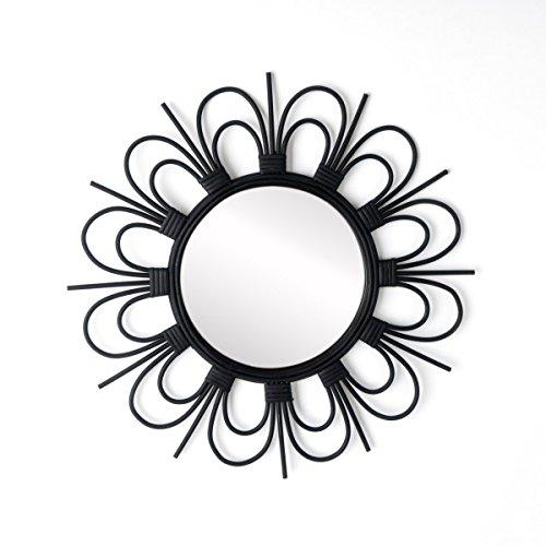 Black Velvet Studio Runder dekorativer WandSpiegel Flor, natürlicher Rattanspiegel, Boho chic, ethnisch, nordisch, für Bad oder Eingangshalle, Haltefeder, Farbe schwarz, 43x43x2 cm.