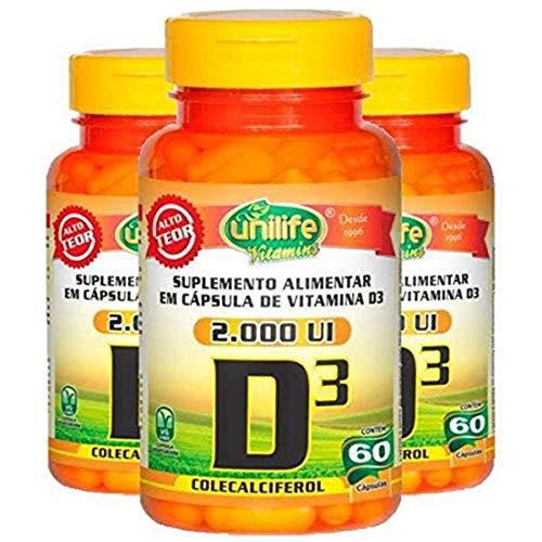 Vitamina D3 2000 Ui - 3 unidades de 60 Cápsulas - Unilife