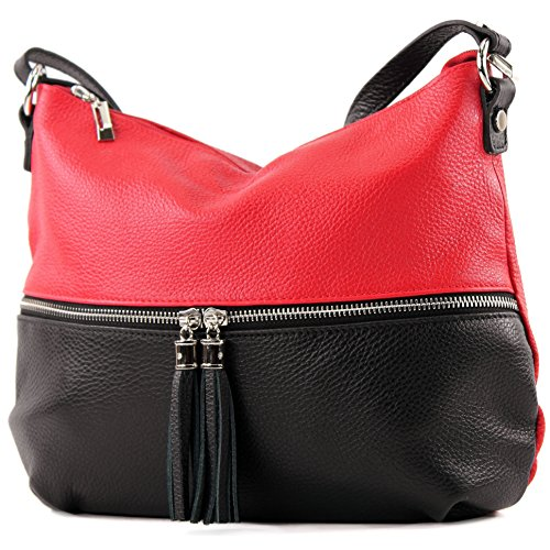 modamoda de - T159 - ital Umhängetasche Schultertasche aus Leder, Farbe:Rot/Schwarz