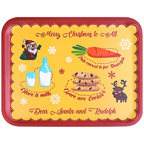 Elcoho Santa Cookie Plate 14 x 11 Inches Christmas Eve Wooden Santa Treat Plate for Xmas Eve Santa Treat Board Wooden Tray Plate