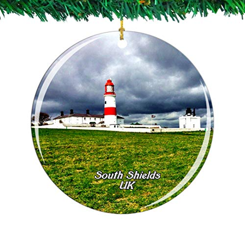 Weekino UK England Souter lighthouse South Shields Christmas Ornament City Travel Souvenir Collection Double Sided Porcelain 2.85 Inch Hanging Tree Decoration