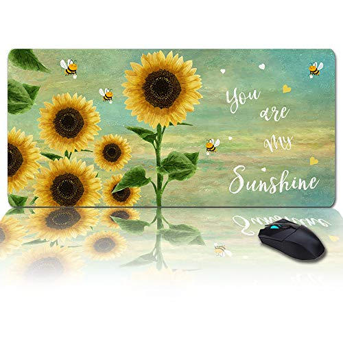 Large Size Gaming Mouse Pad You are My Sunshine Sunflower with Bee Oil Painting Computer Game Mouse Mat Optimized for Gaming Sensors