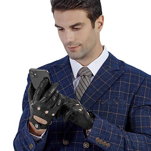 【GSG】革手袋 メンズ ドライビンググローブ 夏用 レザー 薄手 羊革 手袋 メンズ 車 裏地なし 運転グローブ 穴あき ドライバー ドライブ用 プレセント ギフト 170806