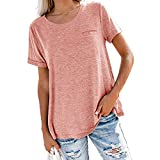 Camiseta para Mujer Tops de Cuello Redondo de Color sólido básica de Manga Corta de Verano Deportiva Superior Informal Mujer Primavera y Verano Nuevo Bolsillo sólido de Manga Corta Suelta Blusa
