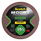 Scotch Outdoor Mounting Tape, 1-in x 450-in, Gray, 1-Roll (4011-LONG)