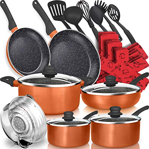 dealz frenzy 21-Piece Soft Grip Absolutely Healthy Ceramic Non-Stick Cookware Set