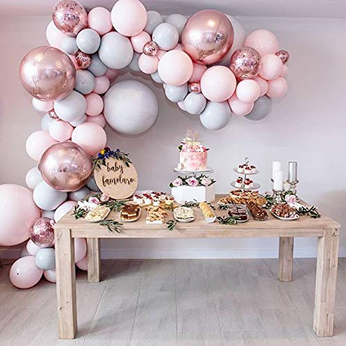 Eanjia Balloon Arch & Garland Kit Double-Stuffed 5'-18' Pastels Pink Gray Rose Gold Confetti Balloons Bulk 16ft for Wedding Baby Shower Birthday Party Shop Decoration (Pink)