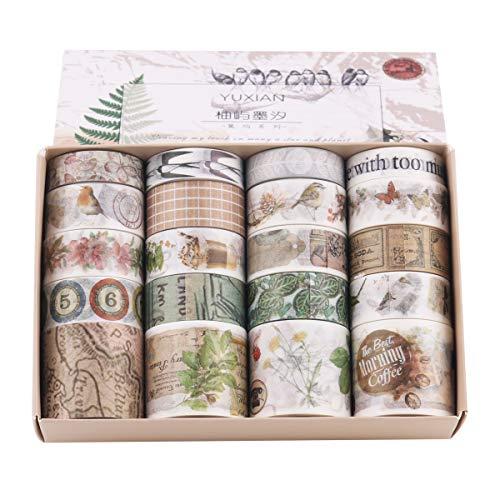 Lychii Cinta adhesiva decorativa de varios patrones para manualidades, diarios, planificadores diarios, envoltorios de regalo, suministros de fiesta de oficina Set 6