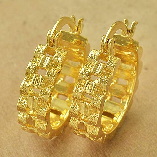 Pretty New Yellow Gold Filled Textured Basket Weave Round 3/4'' Hoop Earrings