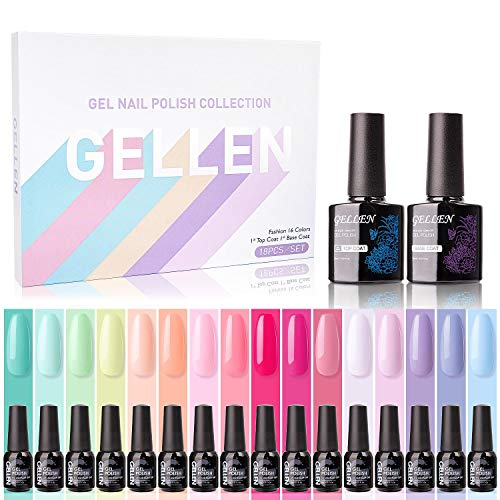 Gellen 16 Colors Gel Nail Polish Set With Top Base Coat - Juicy Vibrant Spring Summer Rainbow Neon Solid Colors Collection, Popular Nail Art Colors Home Gel Manicure Kit