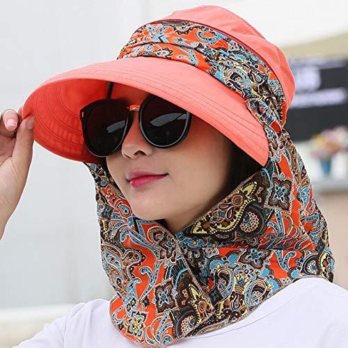 Moda Mujer Verano al Aire Libre Montar Anti UV Sombrero para el Sol Playa Plegable Protector Solar Gorras con Estampado Floral Cuello Cara Sombrero de ala Ancha-Red