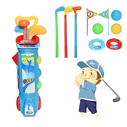 HS1 Juego de Palos de Golf para Niños, Juguetes Deportivos de Golf Al Aire Libre de Playa con 1 Maleta para Carrito de Golf, 3 Palos, 2 Banderas, 2 Camisetas y 3 Pelotas