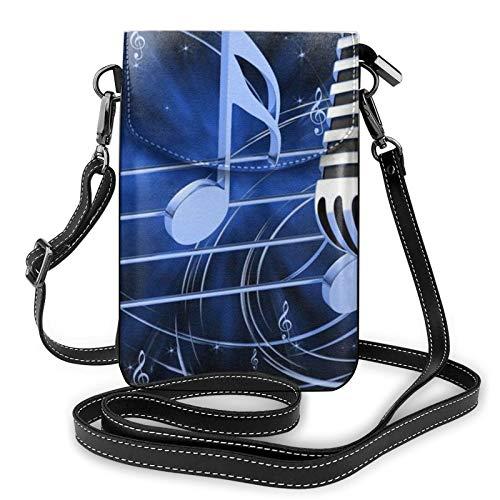 Sac à main léger en cuir synthétique pour téléphone portable, micro avec notes de musique Petit sac à bandoulière Sac à main pour femme - Noir - Noir , Taille unique