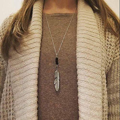 Collana di moda Jovono con collana di piume e ciondolo per donna e ragazza (argento)