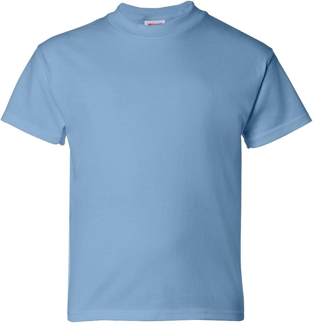 Hanes Youth 5.2 Oz. ComfortSoft Cotton T-Shirt, Small, Light Blue