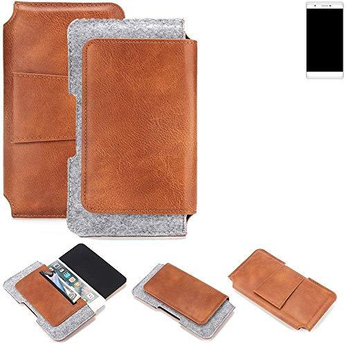 K-S-Trade® Schutz Hülle Für Phicomm Passion 2S Gürteltasche Gürtel Tasche Schutzhülle Handy Smartphone Tasche Handyhülle PU + Filz, Braun (1x)