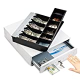 13' Manual Push Open Cash Register Drawer for Point of Sale (POS) System, White Heavy Duty Till with 4 Bills and 5 Coin...