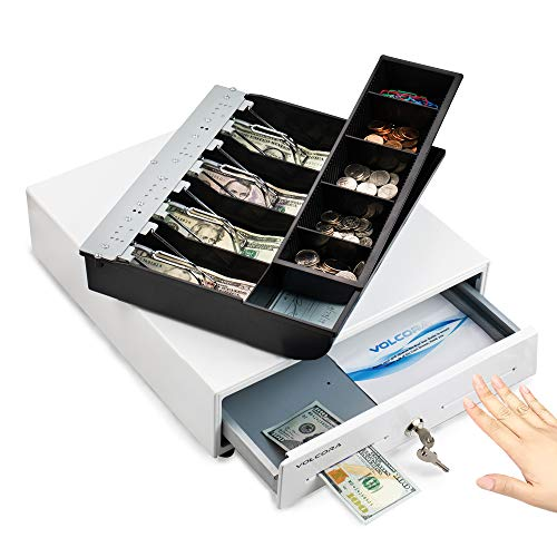 13' Manual Push Open Cash Register Drawer for Point of Sale (POS) System, White Heavy Duty Till with 4 Bills and 5 Coin Slots, Key Lock with Fully Removable Money Tray and Double Media Slots