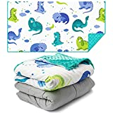 A SOOTHING TOUCH WITH DREAMY DESIGN: We combine restful weight with a minky dot cover and 3 gorgeous Sleepy Prints so your kids get the caring hug they crave. JUST THE RIGHT WEIGHT: Kids love a weighted blanket when it is just the right weight (8-12%...