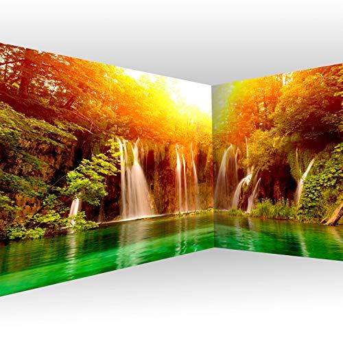 murando Eckfototapete Wasserfall 550x250 cm Vlies Tapeten Wandtapete XXL Moderne Wanddeko Design Wand Dekoration Wohnzimmer Schlafzimmer Büro Flur Natur Sonne Wald c-B-0475-a-a