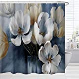 BROSHAN Flower Abstract Shower Curtain, Modern Watercolor Flower Blossom Blue Art Design Bath Curtain, Floral Fabric Waterproof Bathroom Decor Set with Hooks, White Blue, 72 inches Long