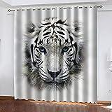 GXCBLK Cortinas Opacas para Ventanas Salon 3D Tigre Blanco Y Negro Animal Patrón Cortinas Habitacion Infantil Decoración para Dormitorio Cortinas Termicas Aislantes Frio Y Calor 200X160Cm 2 Piezas