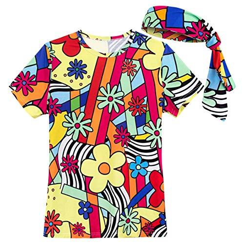 COSAVOROCK Damen 60er 70er Jahre Retro Flower Power Kostüm T-Shirts mit Stirnbänder (XXL, Mehrfarbig)