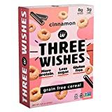 Three Wishes Cereal - Breakfast Cereal - High Protein - Low Sugar - Gluten Free - Grain Free - Dairy Free - Plant Based - Vegan Snack Cereal - Non GMO - Cinnamon 1 Pack