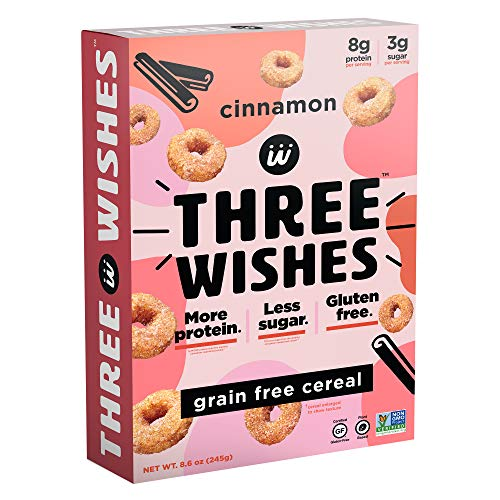 Three Wishes Cereal - Breakfast Cereal - High Protein - Sugar Free - Gluten Free - Grain Free - Dairy Free - Plant Based - Vegan Snack Cereal - Non GMO - Cinnamon 1pk