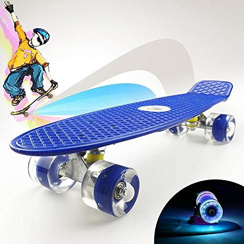 Ceepko Komplett Mini Kids Cruiser Skateboard 55,9 cm mit LED-Licht Rollen für Erwachsene, Kinder, Anfänger, Mädchen Jungen, dunkelblau