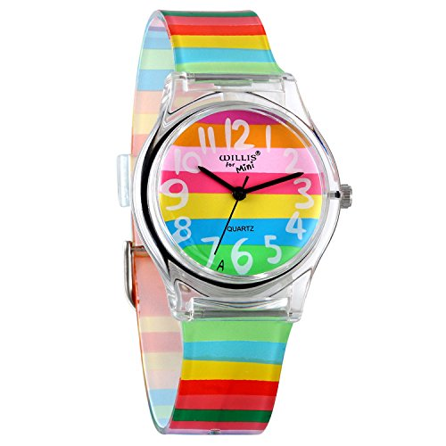 AVANER Watch, Rainbow Color Analog Wrist Watch, Cute Lovely Silicone Time Teacher for Girls Boys...
