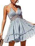 ECOWISH V Ausschnitt Kleid Damen Spitzenkleid Träger Rückenfreies Kleider Sommerkleider Strandkleider Hellblau M