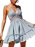 ECOWISH Womens V-Neck Spaghetti Strap Bowknot Backless Sleeveless Lace Mini Swing Skater Dress Light Blue Small