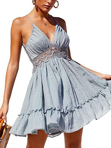 ECOWISH Womens V-Neck Spaghetti Strap Bowknot Backless Sleeveless Lace Mini Swing Skater Dress Light Blue X-Large (Apparel)