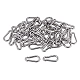 CNBTR Spring Snap Hook M4 40mm 304 Quick Link Ring Stainless Steel Multifunctional Pack of 50