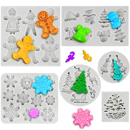 6 Pieces Christmas Silicone Mold Christmas Gingerbread Snowflake Pinecones Fondant Molds Xmas Cake Cupcake Decoration for Making Chocolate Ice Cube Jello Candle