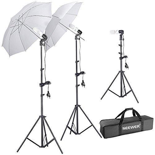 """Neewer® Kit de Iluminación con Paraguas Reflector para Fotografía Estudio, incluye: (2)79""""/ 1,9m Alto Soporte de Luz para Fotografía Estudio + (1)20""""/50cmSoportes de Luz Sobre la Mesa+ (3)Abrazadera de Zapato Montaje para luz y paraguas+ (2)Blanco Paraguas Reflector + (3) 220V 45W Bombillas de luz de día para Estudio + (1)Estuche para paraguas"""