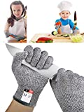 Guantes Anticorte para Niños, Guantes Resistentes a Los Cortes Nivel 5 Seguridad para Cocina Trabajo y Jardín, 1 Par Seguridad Proteccion Guante, aptos para uso alimentario (XS (8-12 años))