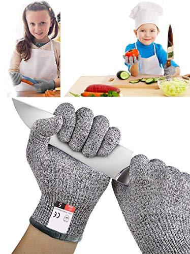 Yrlehoo Guantes Anticorte para Niños, Guantes Resistentes a Los Cortes Nivel 5 Seguridad para Cocina Trabajo y Jardín, 1 Par Seguridad Proteccion Guante, Aptos para Uso alimentario (XS (8-12 años))