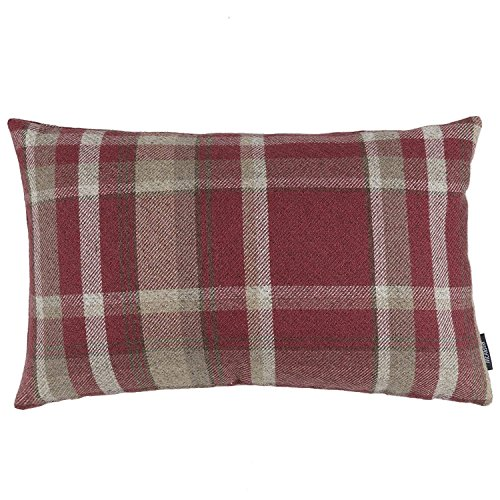 Quality Soft Tartan Check Plaid Cushion Covers All Sizes - Perfect As Bedroom or Living Room Accessories Red 60x40cm Heritage Range By McAlister Textiles