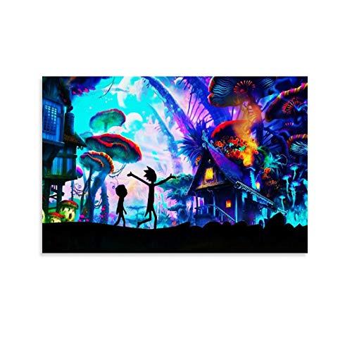 ZHENGDONG Póster de Rick And Morty en lienzo y arte de pared con impresión moderna para dormitorio familiar, 30 x 45 cm