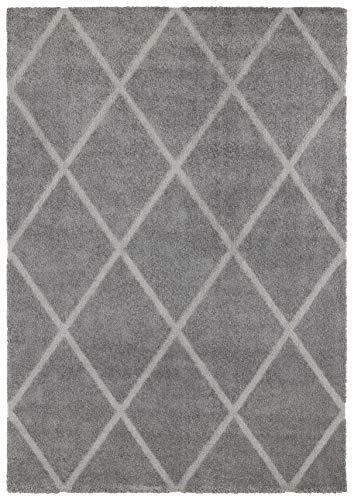 Elle Decor Design Hoogpolig tapijt Lunel lunel. 80x150 cm grijs/zilver