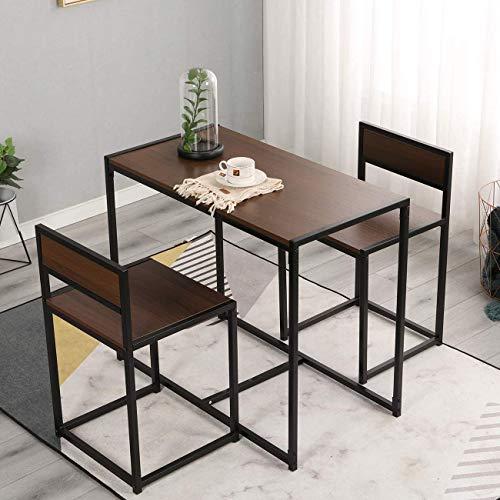 DlandHome Set Mesa de Bar Estilo Industrial Mesa de Comedor con 2 sillas Juegos de Muebles para Comedor Sala Cocina Restaurante, Color Nogal con Marco de Acero Negro