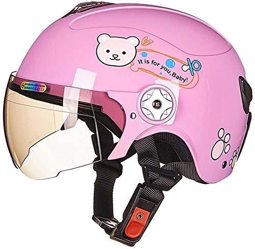 LBWNB Kinder Outdoor Sport Sturzhelm-Motorrad-Sturzhelm Vier Jahreszeiten Universal-Cartoon Halb Helmet - (Farbe: Pink, Größe: Klein)