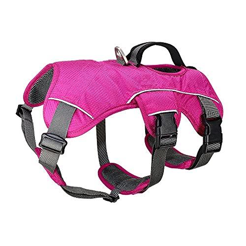 Arnés para perros Large Dog Harness Nylon Reflective Pet Harness Adjustable No Pull Dogs Vest Arnés para gatos (Color : Red, Size : Large)