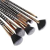 Nuestros melocotones Set de cepillo de maquillaje de 8 piezas, mango de brocha de plástico con forma de panal de diamante, herramientas de belleza for principiantes