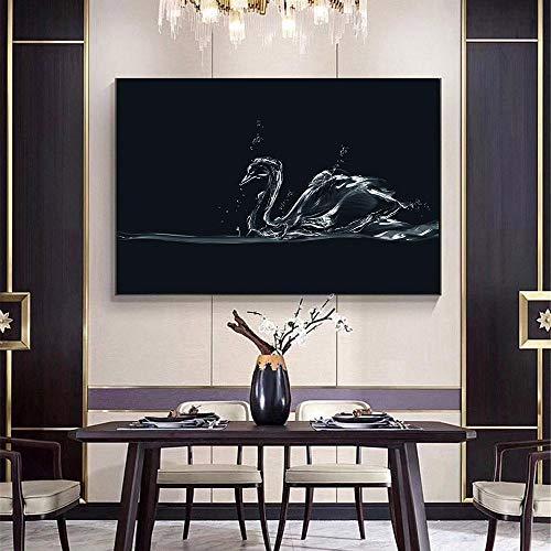 sanzangtang Rahmenlose MalereiNordic Poster abstrakte Tierdekoration Malerei Wandkunst schwarz und weiß minimalistischen Schwan Wasser Wand Bild30X45cm
