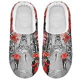 Linomo Zapatillas rojas para mujer, de la Torre Eiffel Paris Lover, para la casa, para el interior, zapatos para la casa, zapatos de dormitorio, multicolor, 41/42 EU