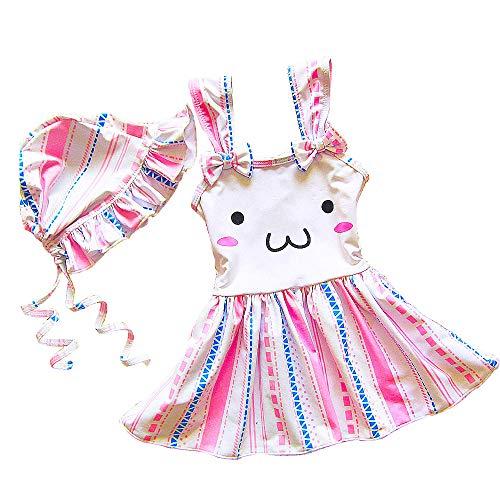 水着 キッズ ワンピース水着 可愛い 子供 女の子 安全パンツ スイムウェア みずぎ フリル 兎 ベビーみずぎ こども ジュニア ガールズ 女児 インナー付き スカートワンピース 一体型 スクール (90#, ピンク)