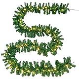 Juskys Weihnachtsgirlande künstlich mit LED Lichterkette | 5m | 100 Lichter warmweiß | IP44 Innen | grün | Weihnachten Girlande Weihnachtsdeko - 4